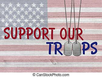 stöd, ute, troops, hund, märken