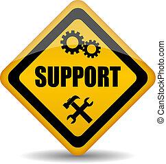stöd, vektor, underteckna