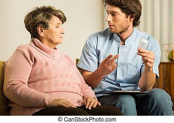stödjande, kvinna, caregiver, manlig, gammal