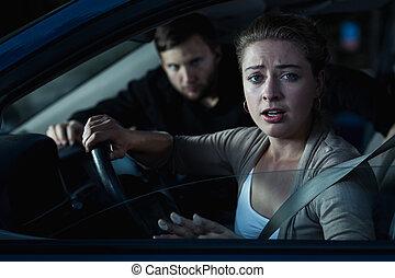stöld, kvinna, bil