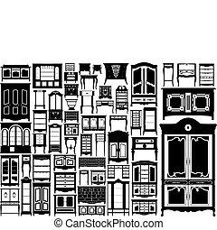 störst, collection., köksskåp, vektor