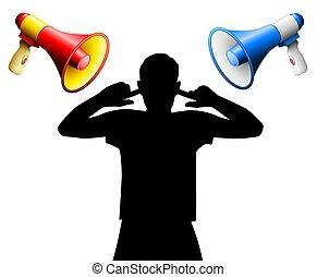 störung, decke, megaphone, geräusch, laut, ohren