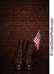 stövel, med, flagga