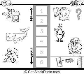 størst, boldspil, coloring bog, dyr