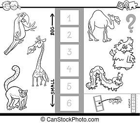 størst, boldspil, coloring, grundlæg, dyr