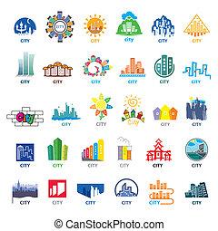størst, logos, cities, vektor, samling
