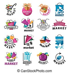 størst, logos, vektor, marked, samling