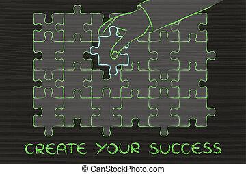 stück, erfolg, fehlend, text, schaffen, puzzel, dein, hand, vervollständigen