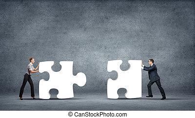 stück, von, puzzel, und, geschäftspersonen