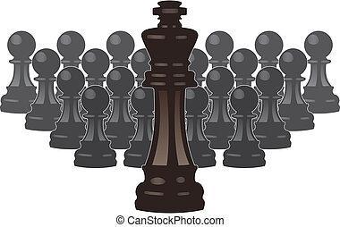 stücke, koenig, schach, vektor, pfänder