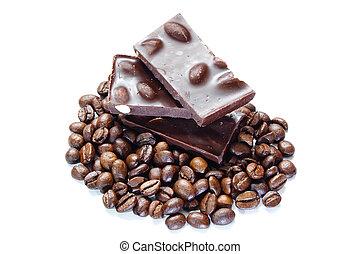 stücke schokolade, mit, nüsse, und, kaffeebohnen