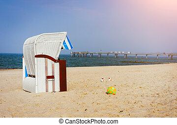 stühle, bucht, eins, luebeck, travemuende, deutschland, sandstrand, sandig