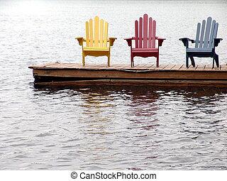 stühle, einsam, drei