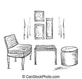 Tisch gezeichnet  Clipart Vektor von stühle, tisch, skizze, icon. - skizze, stühle ...