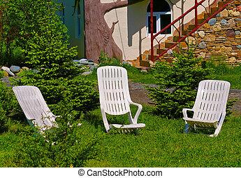 stühle, gras, grün, zwei, buero