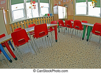klassenzimmer tische schule st hle kindergarten klein stockfotografie suche bilder. Black Bedroom Furniture Sets. Home Design Ideas