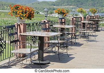 stühle, korbgeflecht, patio tisch