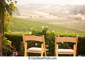 stühle, land, gartenterasse, zugewandt