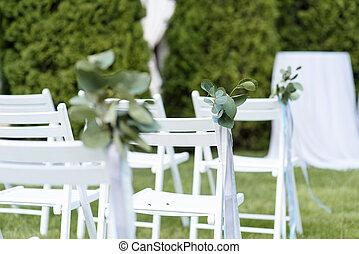 stühle, lawn., weißes, grün