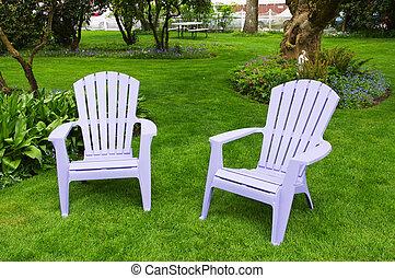 stühle, paar, rasen, grün, hell