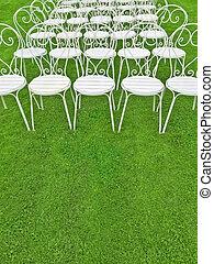 stühle, rasen, grün weiß, leerer