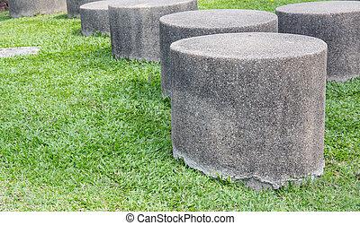 stühle, rasen, kleingarten