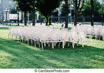 stühle, rasen, leerer