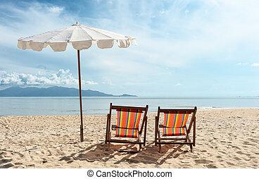 stühle, sandstrand, meer