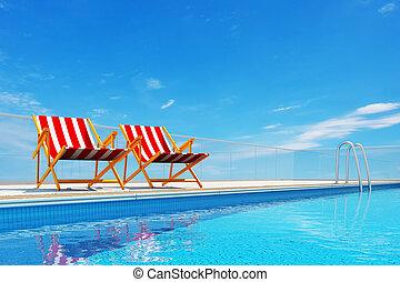stühle, sandstrand, schwimmbad