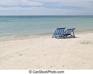 stühle, sandstrand, zwei