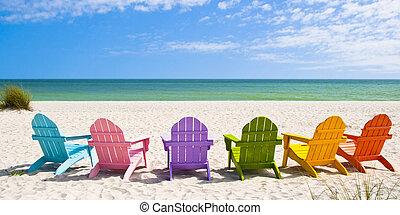 stühle, sonne, adirondack, vac, front, feiertag, sandstrand
