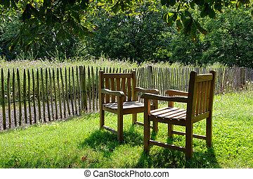 stühle, sonne, zwei