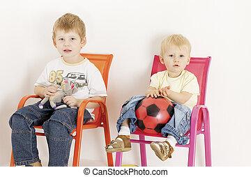stühle, spielzeuge, kinder, sitzen