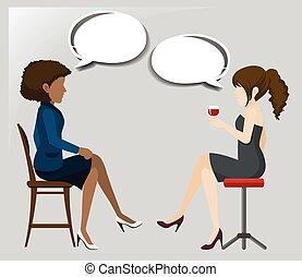 stühle, sprechende , frauen