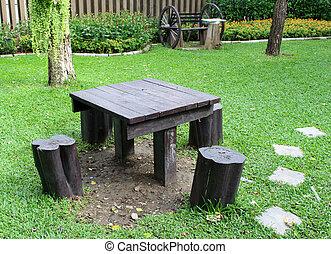 stühle, stehende , rasen, gärtnern tisch