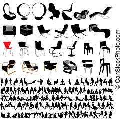 stühle, und, leute, sitzen, sammlung