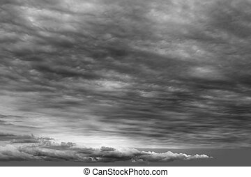 stürmisch, wolkenhimmel, wolkengebilde, dunkelgrau, trüben...