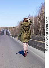 stěna, jde, road., young eny, cesta, les