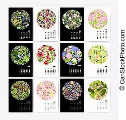 stěna kalendář, jako, 2018, rok, s, druh, composition., týden, náskok, dále, monday., design, šablona, s, květinový, pattern., kolmice, mockup, s, přivést do květu i kdy umístit, jako, každý, season., vektor, illustration.