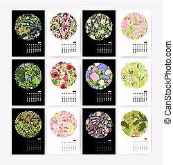 stěna kalendář, jako, 2018, rok, s, druh, composition., týden, náskok, dále, sunday., design, šablona, s, květinový, pattern., mockup, s, přivést do květu i kdy umístit, jako, každý, season., vektor, illustration.