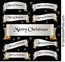stříbrný, a, zlatý, barva, merry christmas, heslo, oblý, lem, standarta, eps10