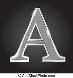 stříbrný, kovový, písmo, vektor, ilustrace