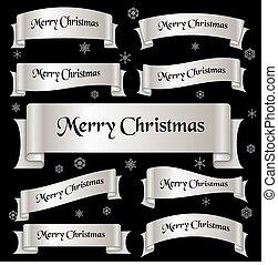 stříbrný, lesklý, barva, merry christmas, heslo, oblý, lem, standarta, eps10