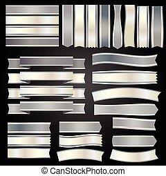 stříbrný, opratě, a, standarta, vektor