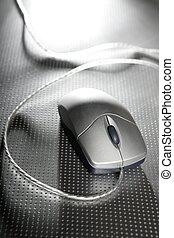stříbrný, počítač, drátový, myš, nad, kov, ocel, grafické pozadí