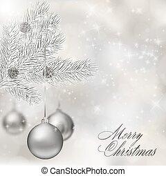 stříbrný, vánoce, kule