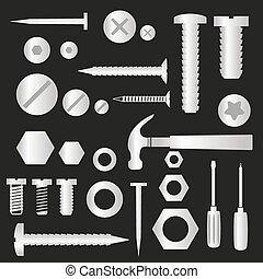 stříbrný, výzbroj, vrtula, a, drápy, s, otesat dlátem, symbol, eps10