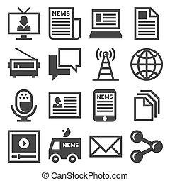 střední jakost, novinka, ikona, set., vektor