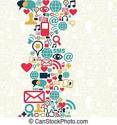 střední jakost, společenský, síť, grafické pozadí, ikona