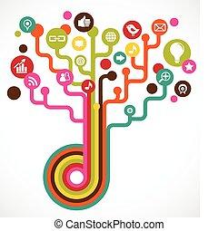střední jakost, společenský, strom, síť, ikona